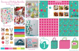 Bunny and Birthday Sprinkles Trendboard and Process. On the left is the research and trends. The bunny logo and pattern was designed by Joslyn and used for her webshop The Jolly Jawbreaker.