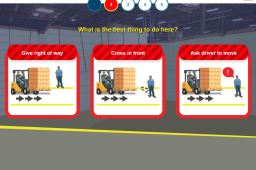 In the previous screen, the user clicks on the lift. They are then brought to a screen that shows three different scenarios for the object that they have to choose is the safest.