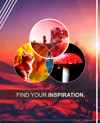 Find your inspiration poster design created in Photoshop. This was an experimental posted I created in my spare time testing out different masking and effects techniques.