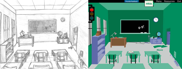 "Here is a cleaned up drawing and final production piece I created for one of our clients. In this e-learning course the learner explored multiple scenes and had to ""spot"" the hazards. Most of my time was used up front to sketch and create a final drawing for the client to approve so there would not be many changes during production and building."