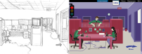 Here is an office scene for the Spot the Hazards e-learning. I designed the layouts and illustrated scenes for this course. Based on my team/client feedback, the final outcome changed a little so that the hazards were easier to see.