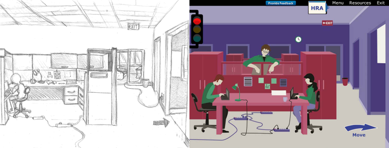 Here is an office scene for the Spot the Hazards e-learning. Joslyn designed the layouts and illustrated scenes for this course. Based on team/client feedback, the final outcome changed a little so that the hazards were easier to see.