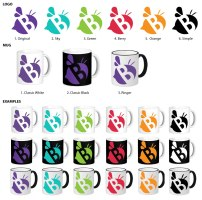 The Studio B logo is versatile and can be used in different colors. Each member of the Studio B team received a different color mug to fit their personality.