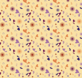 Floral Shape Toss Pattern. This was an experimental toss pattern Joslyn created while attending a Digital Pattern workshop.