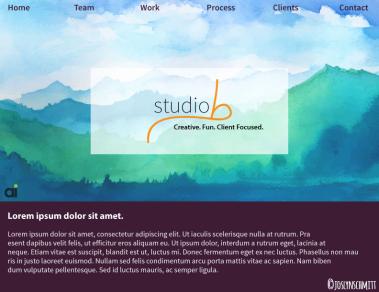 Studio B landing page example Joslyn mocked up.